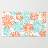 aqua and coral flowers Rug by Sylvia Cook Photography