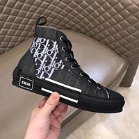 Dior CD New mesh lace-up sneakers Men and women flat sports hip-hop sneakers Letter high-top shoes Casual shoes