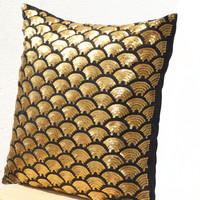 Shiny Gold Pillow Cover For Chic Holiday Decor In Deep Metallic Sequin Decorative Pillow Glitter Sparkle