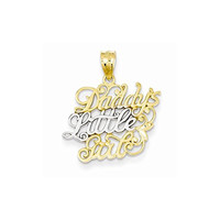 14k And Rhodium Daddys Little Girl Pendant, Best Quality Free Gift Box Satisfaction Guaranteed