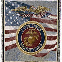 United States Marine Corps Afghan - Machine Wash Cold, Tumble Dry Low, No Bleach
