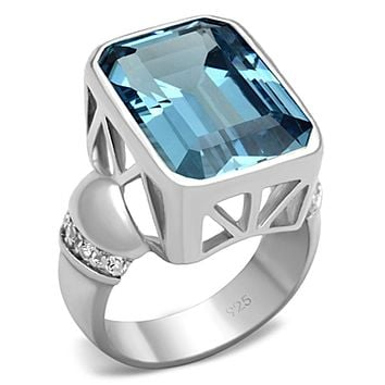 Silver Wedding Rings LOS679 Silver 925 Sterling Silver Ring with Synthetic
