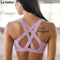 Glamour Girl Sports Bra Wide Elastic Straps Cross Back Yoga Gym Top Bra Sexy Backless Crop Top Seamless Bra For Women Activewear