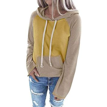 fhotwinter19 women's new hot sale color matching hooded sweater