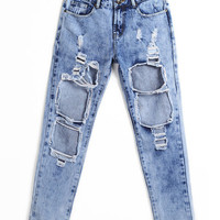 Washed Denim Ripped Pants
