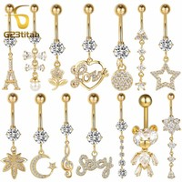 G23titan Gold Color Navel Earrings for Belly Button Piercing Surgical Steel Belly Rings Body Piercing Navel