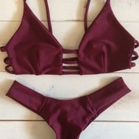 Sexy Solid Red Color Bikini Swimsuit