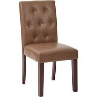 OSP 7-Button Deluxe Dining Chair with Espresso Legs, Molasses Bonded Leather