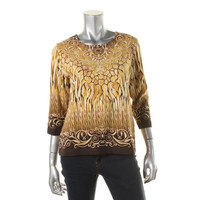 Alfred Dunner Womens Petites Embellished Printed Pullover Top
