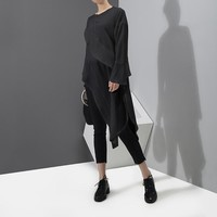 Ashley Asymmetrical Flap Blouse - Black