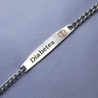 316L Surgical Stainless Diabetes Bracelet - 6 thru 8 inch