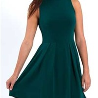 Gliks - Everly Clothing Fit and Flare Dress in Teal