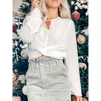 SILENT NIGHT TWISTED TOP IN WHITE