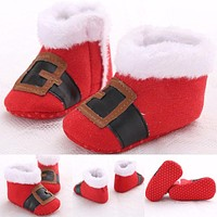 Christmas Warm Red Boots Baby Boy Girl Soft Sole Crib Sneaker Newborn Infant Toddler First Walkers Shoes
