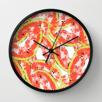 Watermeleon Slices Wall Clock by Rui Faria
