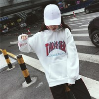 Harajuku Style Flame Letter Embroidery Student Hoodies Autumn Winter 2018 Cotton Loose Swearshirt Female Long Sleeve Pullovers