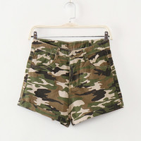 Women Casual Camouflage Shorts Jeans Feminino high Waist Shorts with pockets Vintage Denim Short summer military shorts