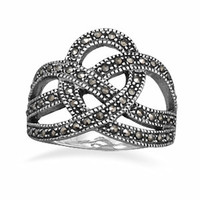 Sterling Silver Marcasite Crown Ring