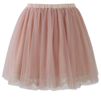 Fairy Tulle Skirt with Lace Trimming in Pink Pink S/M