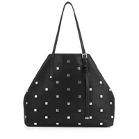 Black Leather Tote Bag with Square Studs | Sasha M | Pre Fall 15 | JIMMY CHOO Women