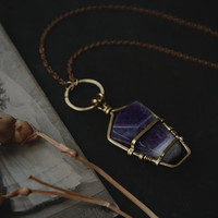 polyxo • chevron amethyst necklace - caged crystal necklace - bohemian jewelry - witchy necklace - amethyst quartz necklace -banded amethyst