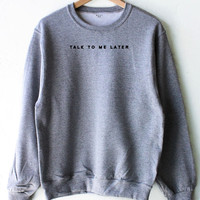 Talk To Me Later Oversized Sweater - Grey
