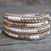 Beaded Leather Wrap Bracelet 4 or 5 Wrap with Silver and White Czech Glass Beads on Natural Leather