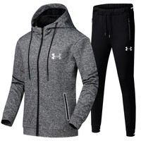 Under Armour Casual Hoodie Top Sweater Pants Trousers Set Two-piece Sportswear Grey Tagre™