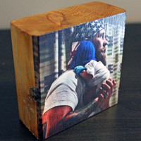 Gift for DAD: PHOTO GIFT, Photo Block, Personalized, Photo on Wood, New Daddy, Father, Birthday, Image Transfer, Rustic Gift for Men, Papa