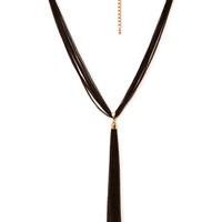 FOREVER 21 Two-Tone Chain Tassel Necklace Black/Gold One