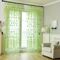 Curtain French Window Pastoral Style Flowers Printed Gauze Curtains For The Living Room Panels Bedroom Kitchen Home Decoration