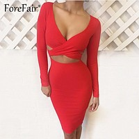 Sexy Criss Cross Bodycon Dress Women Spring Long Sleeve Night Club Wear Bandage Party Dresses Black Red Blue Vestido
