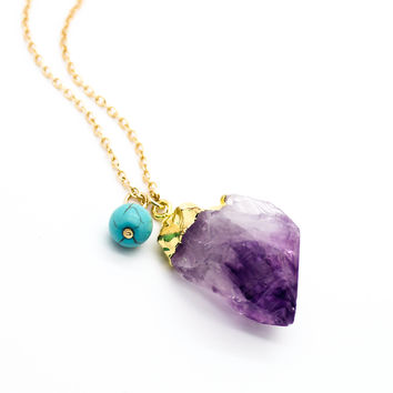 Mystic stone long necklace