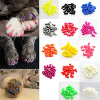 New 20Pcs/Lot Colorful Soft Pet Dog Cats Kitten Paw Claws Control Nail Caps Cover Size