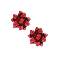 Red Glitter Holiday Bow Stud Earrings