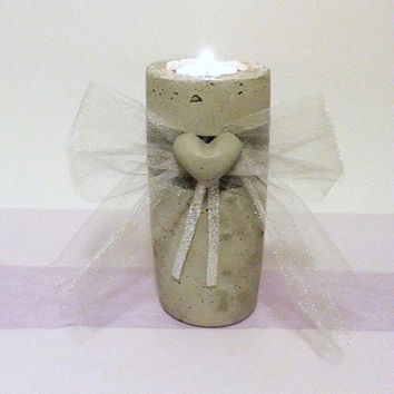 Rustic Wedding, Unity Candle, Concrete Candle Holder, Centerpiece Candle, Table Number, Memorial Candle, Wedding Candle