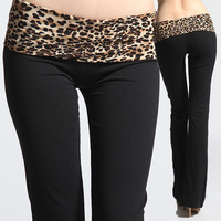 S~L Leopard Cheetah Foldover Waistband Yoga Track Sweat Lounge Long Pants NEW
