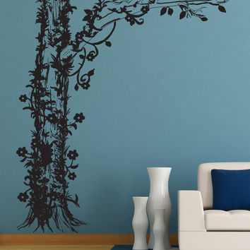Vinyl Wall Decal Sticker Tree with Floral Vines #1237