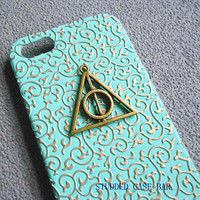 Iphone 5 Case,Harry Potter Deathly Hallows Iphone 5 Case, iPhone Case 5 Mint green European Style flowers case