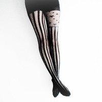 S/M Stars and Stripes Tights- Black