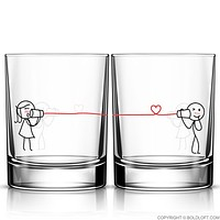 Say I Love You Too™ Couples Matching Glass Set- His and Hers Gift, Couples Gift, Boyfriend Gift, Long Distance Relationship Gift, Wedding Gift
