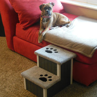 """Dog Steps, Cat Steps, 15"""" High Dog Stairs! Perfect for Small to Medium Size Dogs and Cats, Handbuilt, Custom Made Pet Steps, Dog Bed"""