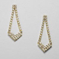 Crystal Clear Chevron Drop Earrings Clear Gold
