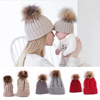 Winter Crochet Hat Mother & Baby set