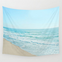 Wall Tapestry Ocean Beach Serene Calming Sea Waves Baby Pastel Blue Teal Turquoise Tan Sand Photography Boho Bohemian Home Dorm Apartment