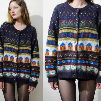 90s Vintage MOHAIR Graphic Cardigan Geometric Jumper Colourful Sweater Novelty Pattern Houses Fluffy Knit Knitted Grunge Hippie 1990s vtg S