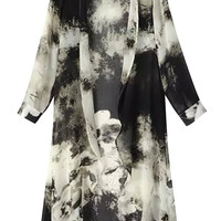 Printed Long Sleeve Long Cover-up