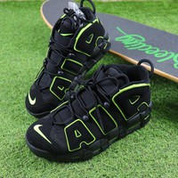 Best Online Sale Nike Air More Uptempo QS Black / Fluorescent Green Basketball Shoes Sneaker