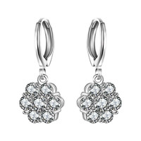 Gorgeous silver 925 channel earrings simulated pearl flower drop brincos Gift for her 623 MP