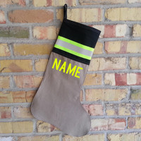 Firefighter stocking looks like turnout bunker gear with custom personalized name and YELLOW reflective stripe. Great gift for a firefighter